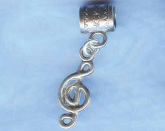 Silver Musical Clef Note Lrg Hole Bead Fits All European and other Styles of  Add a Bead Charm Bracelet Jewelry AAB-G65