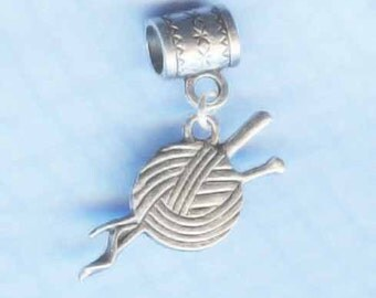 Silver Yarn and Needles Lrg Hole Bead Fits All European Style Add a Bead Charm Bracelet Jewelry AAB-G070