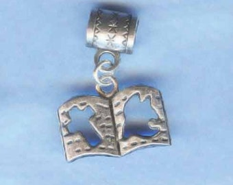 Silver Bible Lrg Hole Bead Fits All European, all Add a Bead Charm Bracelet Jewelry AAB-Rec009