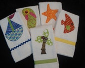 SALE SALE SALE SuzyBeesSurprises Beach House Collection Appliqued Hand Towels - Boat Flop Star Fish Tree