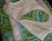 SALE SALE SALE SuzyBeesSurprises Minkee Blue Green Paisley Baby Blanket, Burp Cloth and Bodysuit Set