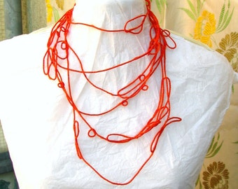 LUP necklace in orange and red