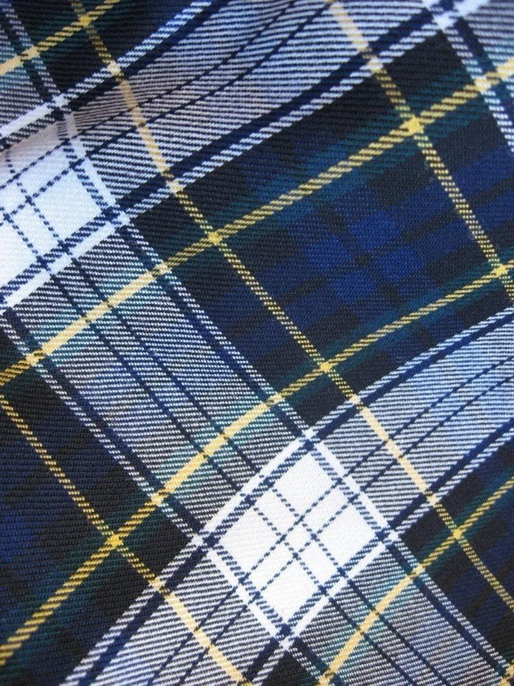 Sale Navy White Green Plaid Tartan Fabric 1 By