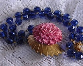 Vintage Pink Carnation and Dark Sapphire Bead Necklace