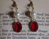 Antique Siam Red and Pearl Earrings