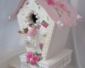 Shabby PInk Cottage Hand Painted BIRDHOUSE Chic Roses Mosaic ecs cst