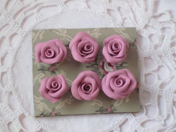 MAUVE Pink Handmade Clay Roses Set of 6 PUSH Pin Thumbtacks ECS
