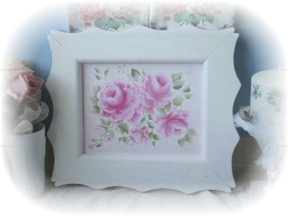 Shabby COTTAGE Chic White Framed Hand Painted PINK Roses ECS cst