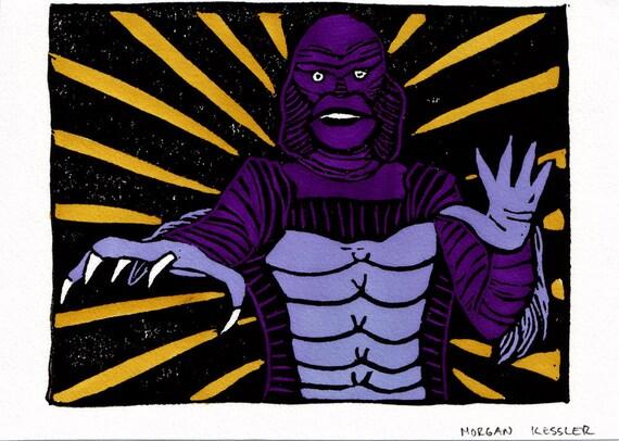 Creature of the Black Lagoon Linocut- Purple and Yellow