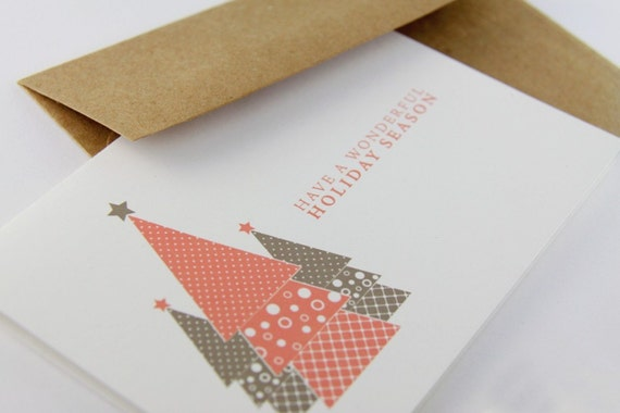 RESERVED FOR SHALINI - 4 Sets of 8 Holiday Tree Ecofriendly Greeting Cards
