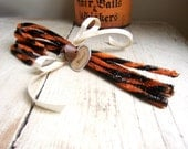 Boo - Primitive Chenille Candy Canes for Halloween - Hand-twisted - With Rusty Bell and Tag
