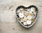 Vintage Mother of Pearl Buttons in Vintage Heart Tin