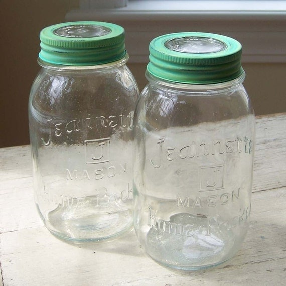 Vintage Jeannette Home Packer Mason Quart Jars With Glass Insert Lids - Set of Two