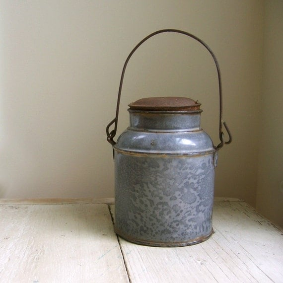 Vintage Graniteware Milk and Cream Pail With Lid
