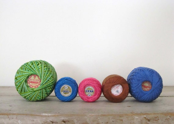 Vintage Crochet Thread Spools - Set of 5