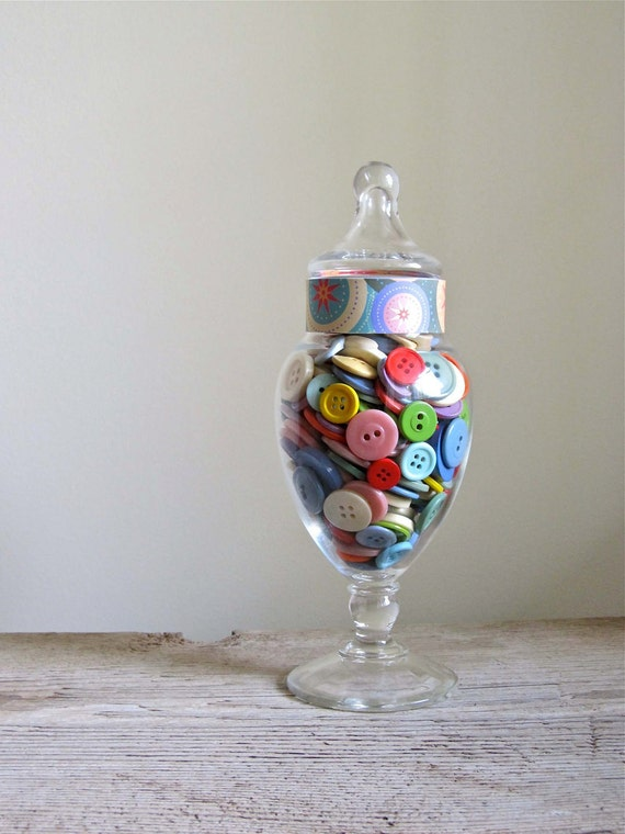 Vintage Buttons in Apothecary Jar