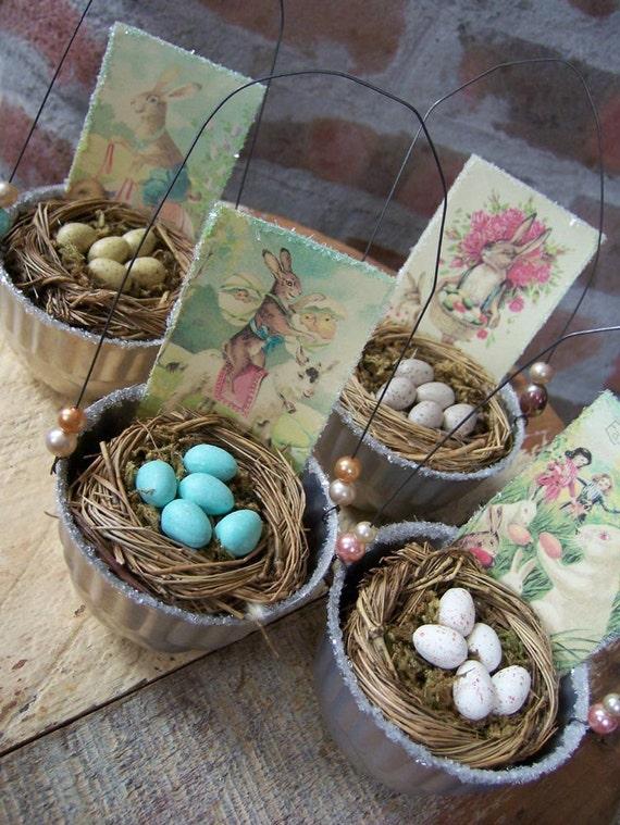 Vintage-Inspired Jello Mold Easter Egg Baskets