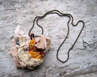 jewelry, fiber, fiberart, stone, pendant, necklace, wearable art, WHISPER