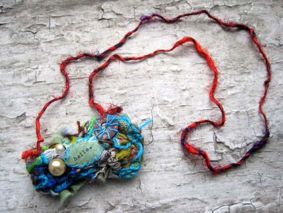 fiber art stone pendant necklace wearable art HELLO.