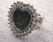 3 Antique Silver Plated Adjustable Blank Stretch Ring Blanks with a Crystal Frame Heart - Shaped Cabochon Bezel Setting