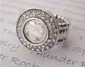 Antique Silver Plated Adjustable Stretch Ring Blanks with a Double Crystal 11mm Round Cabochon Bezel Setting in Your Choice of Quantity