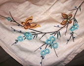 Butterflies, Flowers and Branches Tablecloth Beautiful Vintage Hand Embroidered Free Ship USA