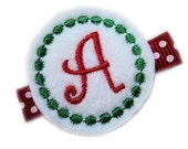Christmas Personalized Felt Hair Clip - Christmas SNOWBALL  preppy Hair Bow with velcro monogram Sisters Twins Triplets  red white green