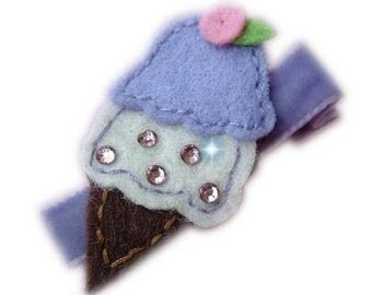 Felt Hair Clip - ICE CREAM CONE purple brown with swarovski crystal bling hair bow lavender