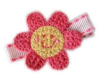Little Miss Sunshine FLOWER HAIR CLIP - cute clippie with velcro No Slip - pink yellow
