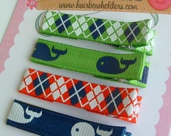 SUMMER IDEAS VACATION - Set of 4 Hair Clips - Whale Watching... red white blue green Cute clippies velcro too hair bows Swim Clips Preppy