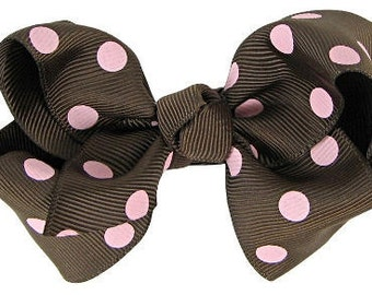EVERYDAY HAIR BOW - Brown with Baby or Light Pink polka dots  (perfect for newborn, infant, toddler, big girl) - Medium