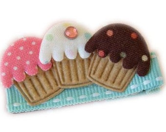 CUPCAKE Hair Clip with Bling - VELCRO no-slip added - Pink Brown White Turquoise Cute Hair Bows for Girls