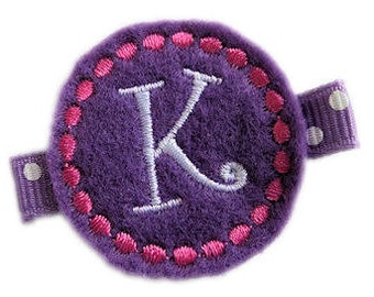 FELT Monogram Hair Clip - Purple and Pink personalized - monogrammed hair clips for girls school