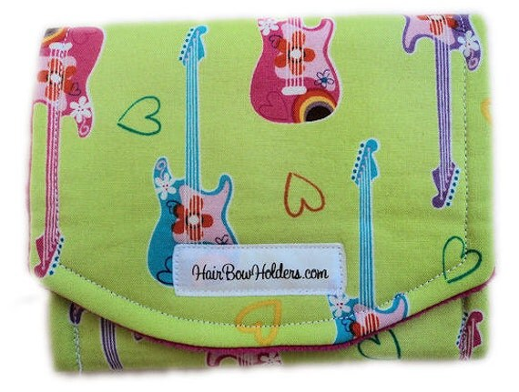 READY TO SHIP ... Last One Clearance Price Hair Clip Travel Caddy - Rocker Girl - Green Hair Bow Holder - Guitar - Music Lover