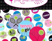 INSTANT DOWNLOAD - Tennis 2010 Bottlecap Images Bottle Cap Disc-Its Scrapbooking Boutique Digital Collage Art Sheet
