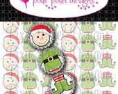 INSTANT DOWNLOAD - Elf Christmas Ornament Bottlecap Images Bottle Cap Disc-Its Scrapbooking Boutique Digital Collage Art Sheet