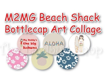 INSTANT DOWNLOAD - M2MG Beach Shack Collage 3/4 inch or 1 inch Bottle Cap Disc-Its Scrapbooking Boutique Digital Collage Art Sheet