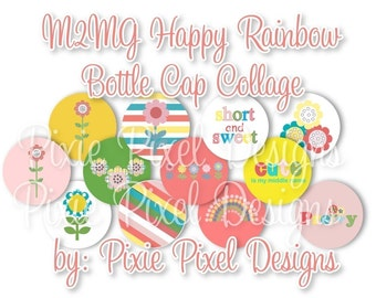 INSTANT DOWNLOAD - M2MG Happy Rainbow Bottlecap Images Bottle Cap Disc-Its Scrapbooking Boutique Digital Collage Art Sheet