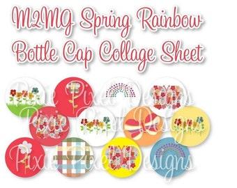 M2MG Spring Rainbow Bottlecap Images Bottle Cap Disc-Its Scrapbooking Boutique Digital Collage Art Sheet