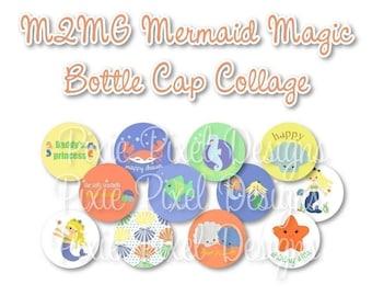 INSTANT DOWNLOAD - M2MG Mermaid Magic Bottlecap Images Bottle Cap Disc-Its Scrapbooking Boutique Digital Collage Art Sheet