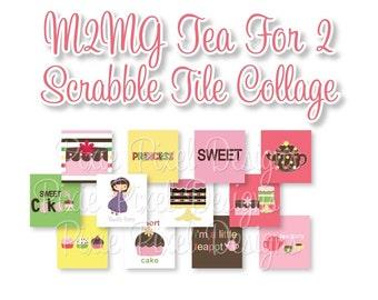 M2MG Tea for 2 Scrabble Tile Collage Sheet