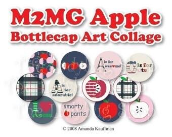 INSTANT DOWNLOAD - M2MG Prep School Apple Bottle Cap Images 4x6 Bottlecap Collage Sheet