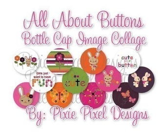 M2MG All About Buttons Collage 3/4 inch or 1 inch Bottle Cap Disc-Its Scrapbooking Boutique Digital Collage Art Sheet