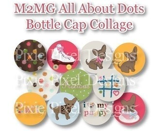 Instant Download - M2MG Lots of Dots 1 inch Bottle Cap Disc-Its Scrapbooking Boutique Digital Collage Art Sheet