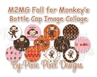 M2MG Fall for Monkey's Collage 3/4 inch or 1 inch Bottle Cap Disc-Its Scrapbooking Boutique Digital Collage Art Sheet