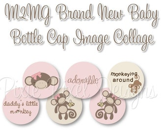 INSTANT DOWNLOAD - M2MG Brand New Baby Bottle cap Images Scrapbooking Boutique Digital Collage Art Sheet