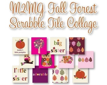 M2MG Fall Forest Scrabble Tile Collage Sheet