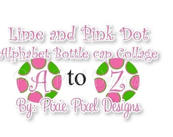 INSTANT DOWNLOAD - Pink and Lime Alphabet Collage 3/4 inch or 1 inch Bottle Cap Disc-Its Scrapbooking Boutique Digital Collage Art Sheet