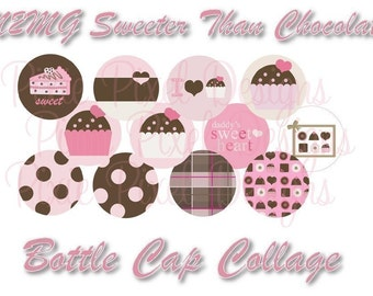 M2MG Sweeter than Chocolate 1 inch Bottle Cap Disc-Its Scrapbooking Boutique Digital Collage Art Sheet