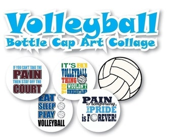Instant Download - Volleyball Collage s 3/4 inch or 1 inch Bottle Cap Disc-Its Scrapbooking Boutique Digital Collage Art Sheet
